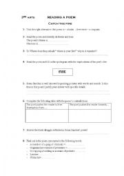 English Worksheet: catch the fire