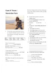 English Worksheet: november rain