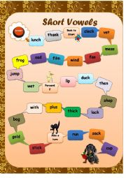 Phonics. Short Vowels. Board Game