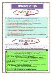 English Worksheet: LINKING WORDS Exercise 1 & 2  (Key included)