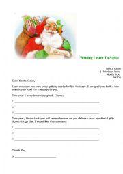 English Worksheet: Writing letter to Santa