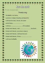 English Worksheet: Save the earth : a lesson of the 9th grade