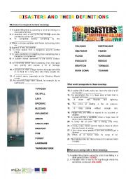 English Worksheet: Disasters and their definitions