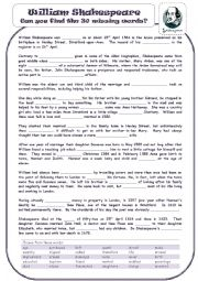 English Worksheet: The Story Of William Shakespeare