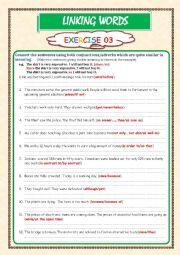 English Worksheet: LINKING WORDS     Exercise 03 (Key included)