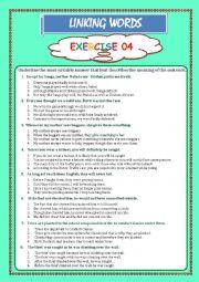 English Worksheet: LINKING WORDS Exercise 04 (Key included)