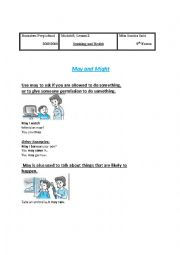 English Worksheet: may and might