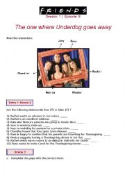 English Worksheet: Friends - Tv Series (season 1 - episode 9)