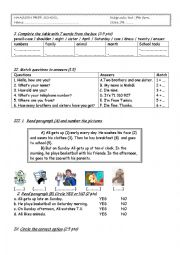 English Worksheet: Diagnostic test : 7th form