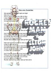 English Worksheet: Elton John Rocket Man Gapfill Handout