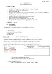 English Worksheet: Lesson Plan Lesson 22 Family Matters  for 1st year