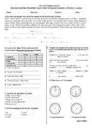 English Worksheet: 9th grades exam a1.1 level