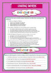 English Worksheet: LINKING WORDS Exercises   5, 6, & 7 (Key included)