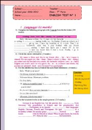 English Worksheet: Full-Term Test N°1
