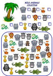 English Worksheet: wild animals counting