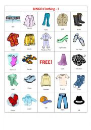 English Worksheet: BINGO Clothing