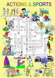 English Worksheet: SPORTS and ACTIONS CROSSWORD