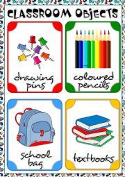 English Worksheet: Classroom objects - flashcards 1/3 REUPLOADED