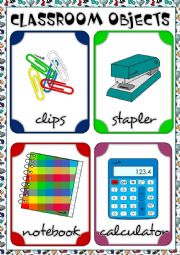 English Worksheet: Classroom objects - flahscards 2/3 REUPLOADED