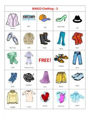 English Worksheet: BINGO Clothing 3-4
