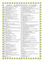 English Worksheet: Rephrasing     Reported Speech ( wh.questions) Fourth Worksheet