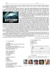 English Worksheet: Battleship: Text Comprehension