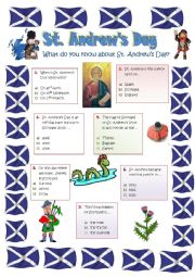 English Worksheet: ST. ANDREW�S DAY - 30th NOVEMBER