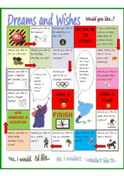 English Worksheet: Dreams and Wishes Board Game