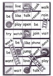 English Worksheet: Regular verbs -  PRONUNCIATION - Snakes and ladders board game
