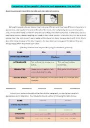 English Worksheet: Comparison of two people: character and appearance