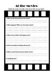20 FREE ESL FILM REVIEW worksheets