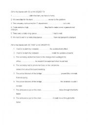 English Worksheet: so that, in order to, so