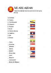 English Worksheet: ASEAN nations capitals and flags