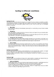 English Worksheet: Cycling in different conditions