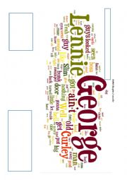 English Worksheet: Of Mice and Men wordle - prediction chapters 2 and 3