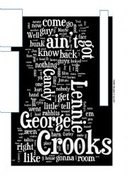 English Worksheet: Of Mice and Men wordle - prediction chapter 4
