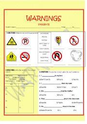 English Worksheet: WARNINGS