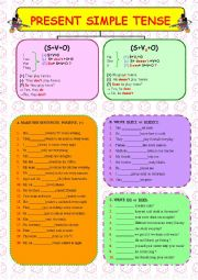 PRESENT SIMPLE TENSE - 1 ( 2 PAGES + FROM SIMPLE TO COMPLEX )