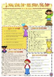 English worksheet: Possessives: I, you, he, she vs my, your, his, her