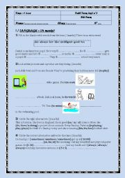 English Worksheet: Full term test n�1 for the 7th form