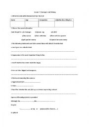 English Worksheet: Teenagers and Money( lesson 7 - 1st year)