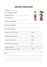 Interview with a partner - ESL worksheet by Little13