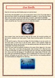 English Worksheet: Our Earth