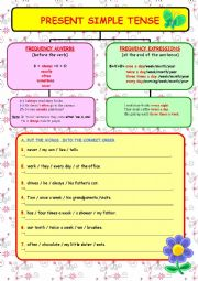 English Worksheet: PRESENT SIMPLE TENSE - 2 (FREQUENCY ADVERBS and EXPRESSIONS) +(2 PAGES)+ (WORD ORDER EXERCISES)
