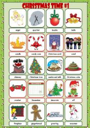 English Worksheet: Christmas Time Picture Dictionary#1
