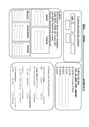 English Worksheet: Quiz about numbers to 1000, the time and some words -part2