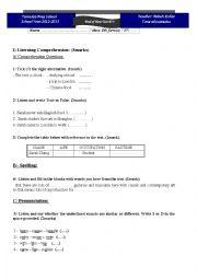 Mid-term test n°1/ 8th form
