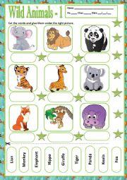 English Worksheet: WILD ANIMALS 1 - MATCHING