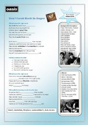 English Worksheet: Oasis - Don�t Look Back In Anger