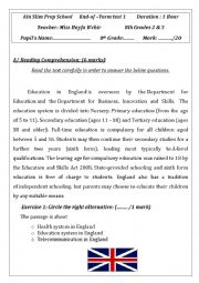 English Worksheet: end of term test 8th form (tunisia)